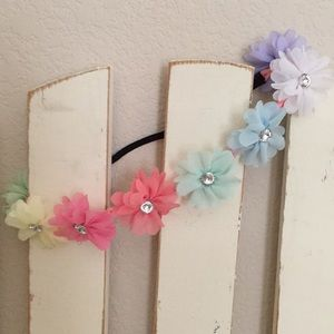 Stretchable Colorful Flower Headband with Bling